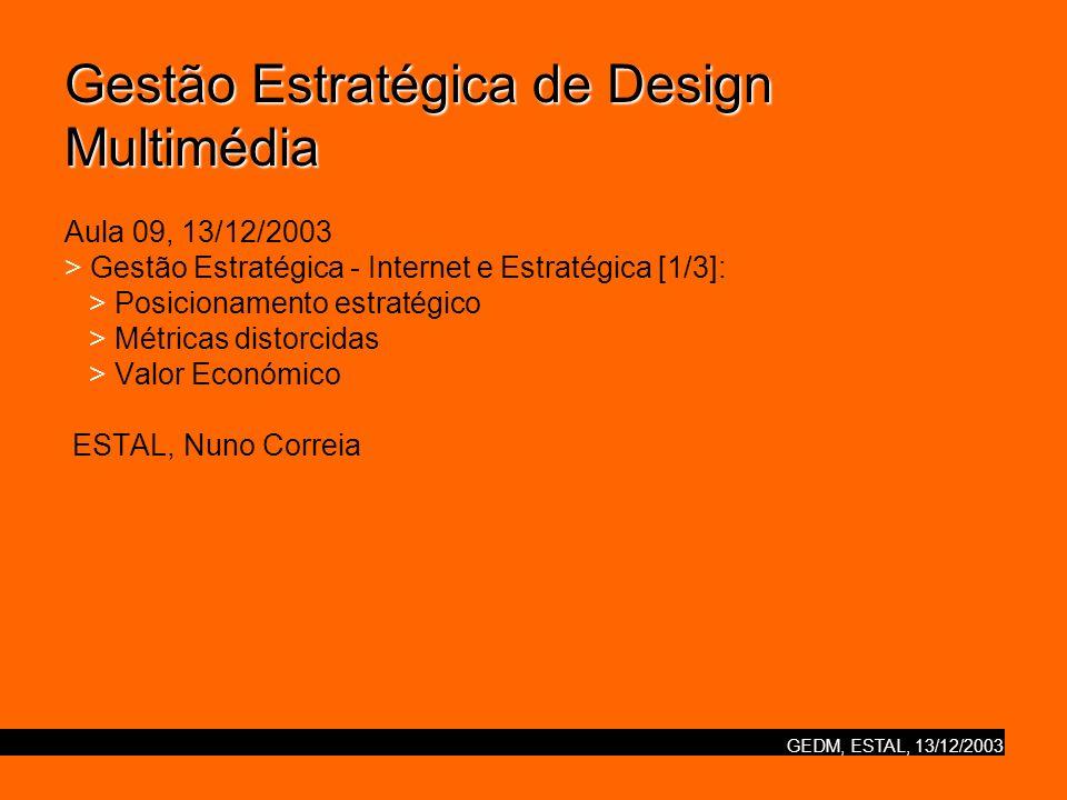 Gestão Estratégica de Design Multimédia Aula 09, 13/12/2003 > Gestão Estratégica - Internet e Estratégica [1/3]: > Posicionamento estratégico > Métricas distorcidas > Valor Económico ESTAL, Nuno Correia